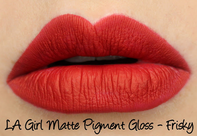 LA Girl Flat Matte Pigment Gloss - Frisky Swatches & Review