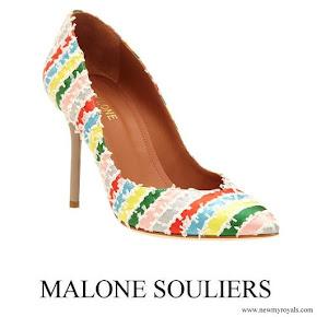Crown Princess Mette-Marit wore Malone Souliers Brenda Stripe Pumps