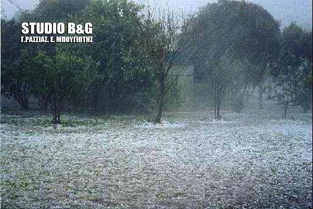 Βροχή και χαλάζι σε πολλές περιοχές της Πελοποννήσου