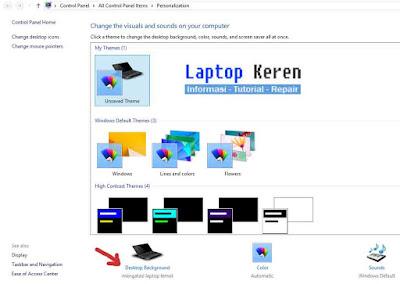 mengganti desktop background