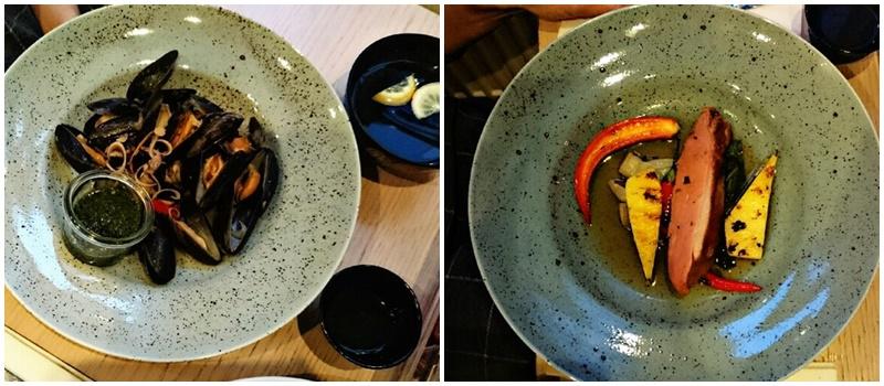 Słodko-ostre mule w zielony sosie i Pierś z kaczki / sous vide / z bok choyem w sosie z galangalu Why Thai Food&Wine
