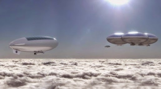 Illustration rides like a balloon floating in the atmosphere of Venus