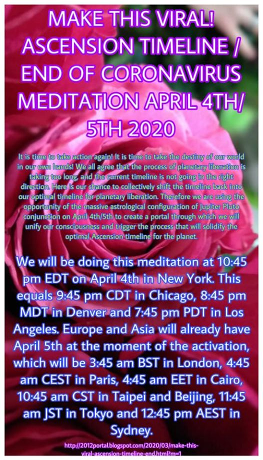 Ascension Timeline / End of Coronavirus Meditation on 4/5 aprile 2020 at 2:45 AM UTC !