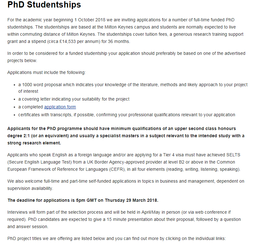 The Open University Business School PhD Studentships In Uk 2018