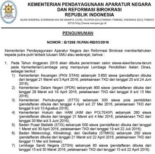 Jadwal Pendaftaran Seleksi Masuk Sekolah Ikatan Dinas Tahun Pelajaran 2016 / 2017