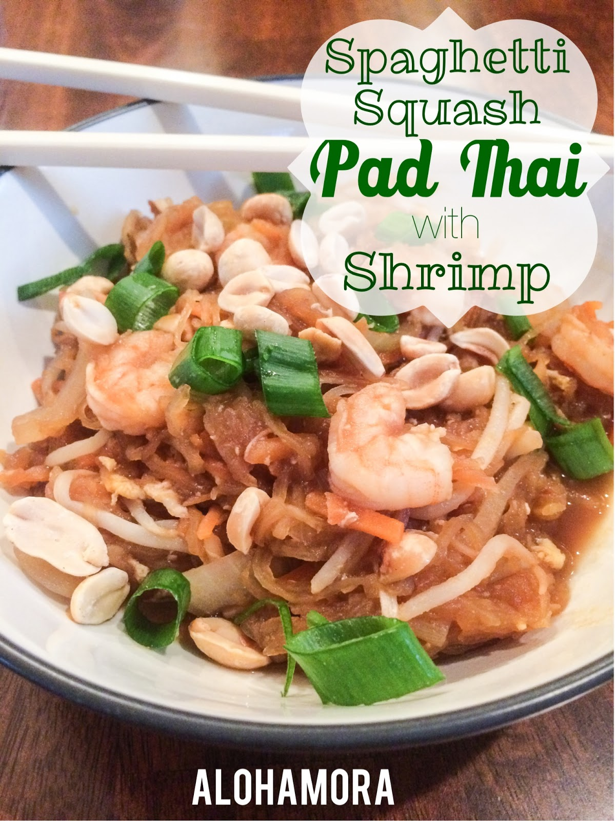 Spaghetti Squash Pad Thai with Shrimp.  A healthier version of Pad Thai and all around tasty, delicious, easy, and fast ethnic food. Alohamora Open a Book http://www.alohamoraopenabook.blogspot.com/