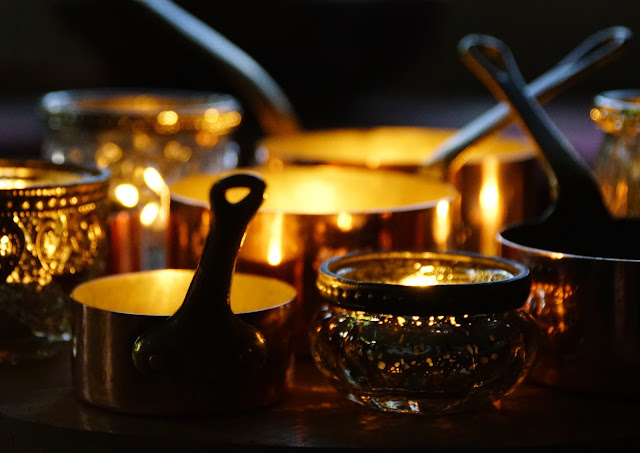 French antique miniature saucepans and vintage candle holders