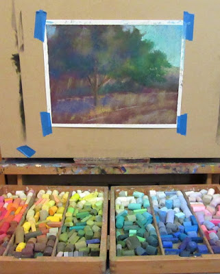 art painting wip soft pastel landscape tree