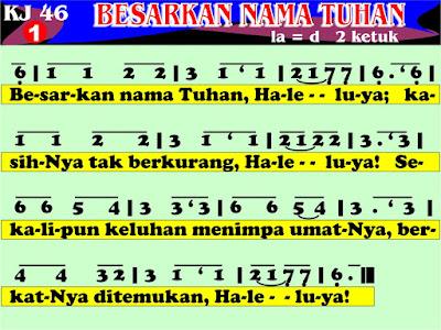 Lirik dan Not Kidung Jemaat 46 Besarkan Nama Tuhan