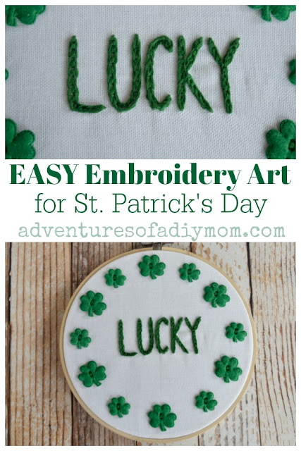 Easy embroidery with felt buttons for St. Patrick's Day