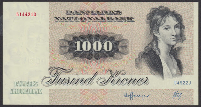 Denmark Currency 1000 Danish kroner banknote bill