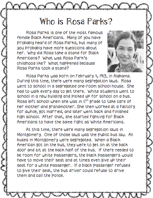 letter rosa parks explaing my thoughts she helped americans Rosa parks began her activism in opposition to injustices committed against african americans in the 1930s her first major involvement was in organizing the defense of the scottsboro boys, nine african american teenagers falsely accused of raping two white american women on a train in 1931.