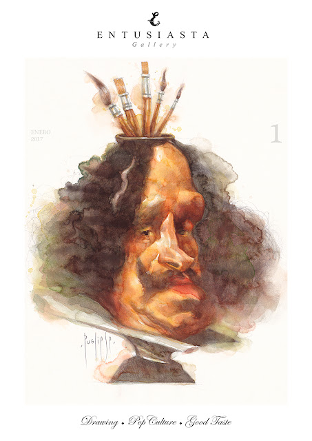 Caricature portrait of painter Velázquez by David Pugliese. Watercolor.