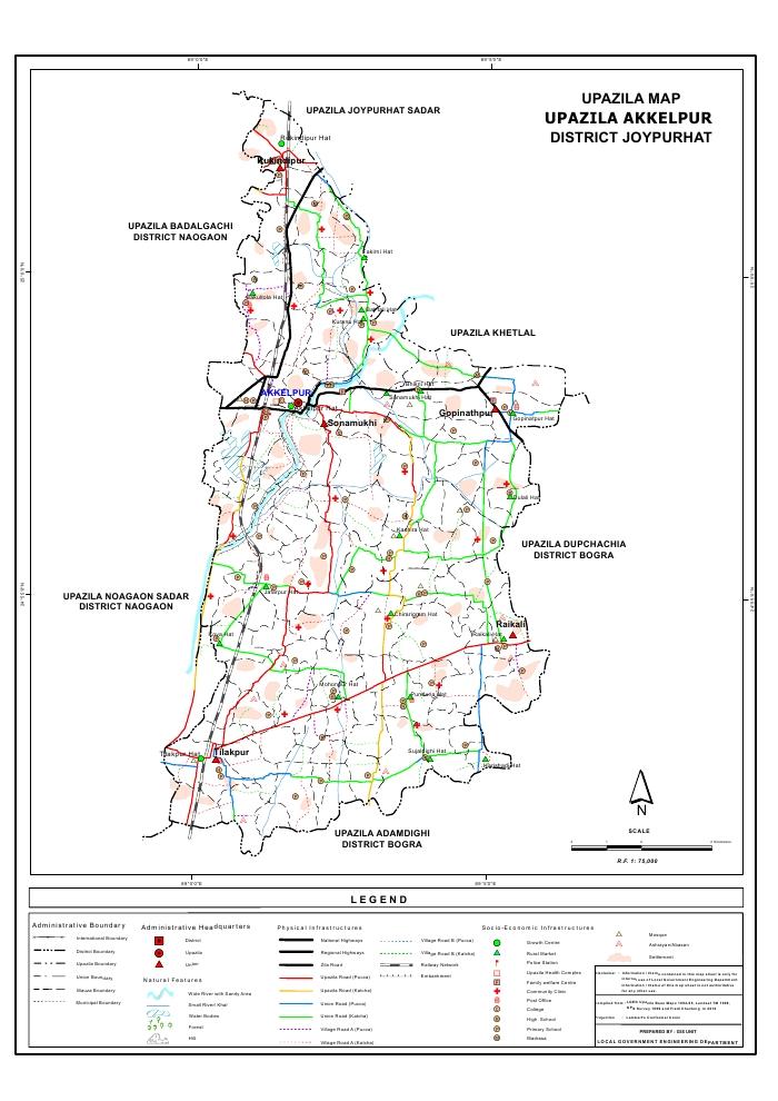 Akkelpur Upazila Map Joypurhat District Bangladesh