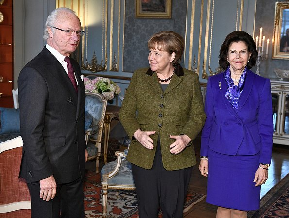 King Carl Gustaf and Queen Silvia met with German Chancellor Angela Merkel at Royal Palace in Stockholm