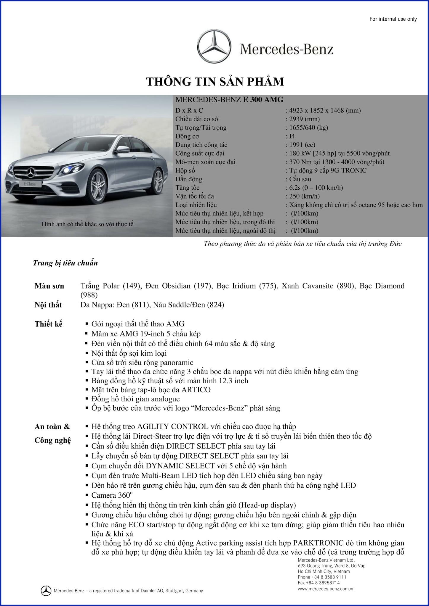 Bảng thông số kỹ thuật Mercedes E300 AMG 2019 tại Mercedes Trường Chinh