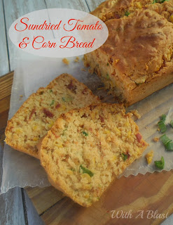Sundried Tmato and Corn Bread ~ This bread tastes heavenly served warm with butter {and a slice of cheese if you like!} #SavoryBreads #Bread #QuickBread #CornBread