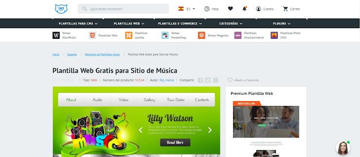 Plantilla Web Gratis para Sitio de Música