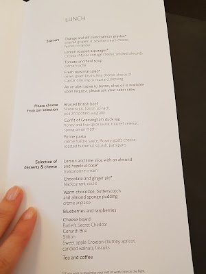 Menú de la clase business de British Airways