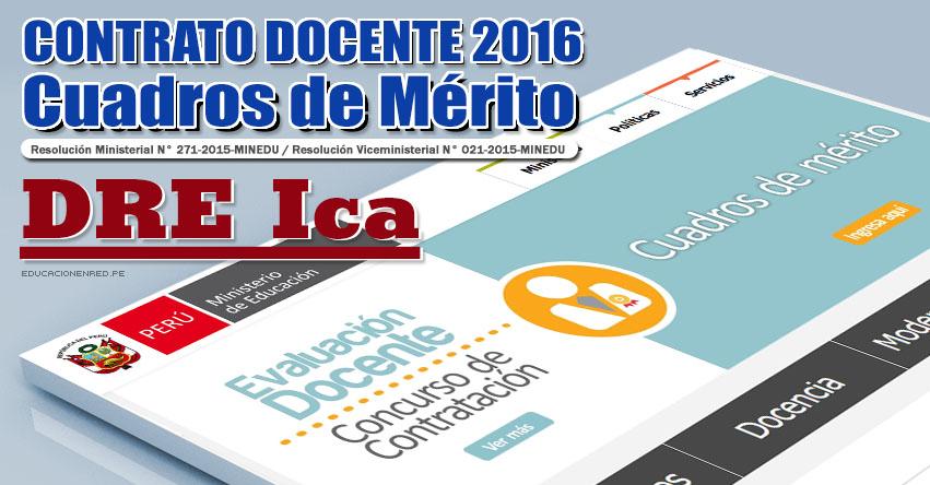 DRE Ica: Cuadros de Mérito para Contrato Docente 2016 (Resultados 22 Enero) - www.dreica.gob.pe