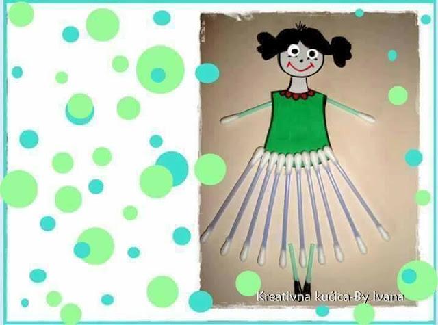 Ide membuat kreasi berbentuk anak perempuan menggunakan cottonbud untuk anak-anak