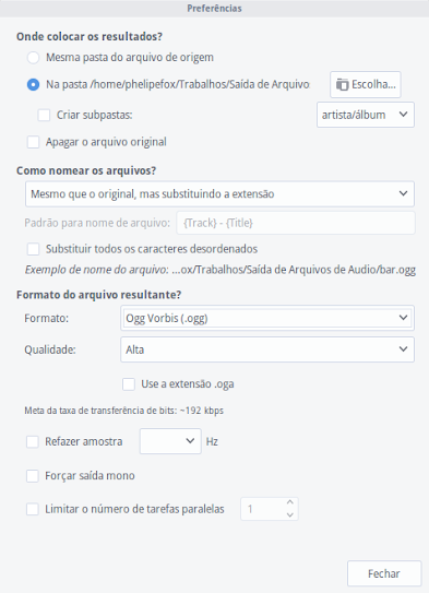 Preferências do SoundConverter
