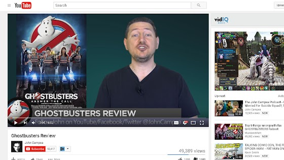 the second Ghostbusters movie review that I saw in YouTube was by John Campea