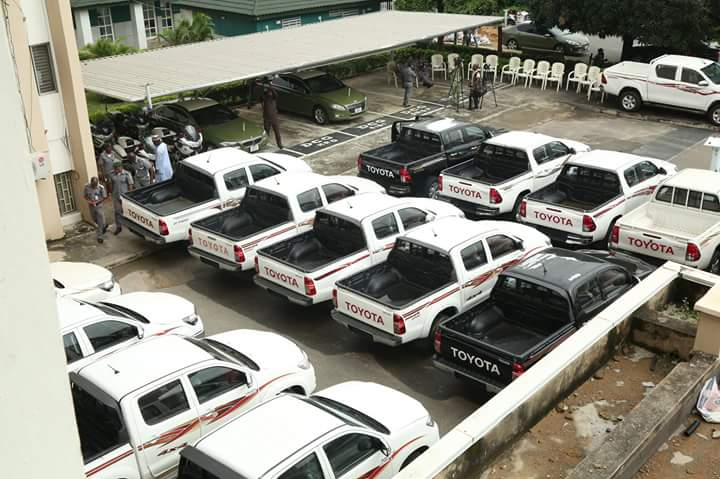 Breaking News: Nigeria Customs Intercepts 27 Smuggled Toyota Hilux In Abuja - Photos
