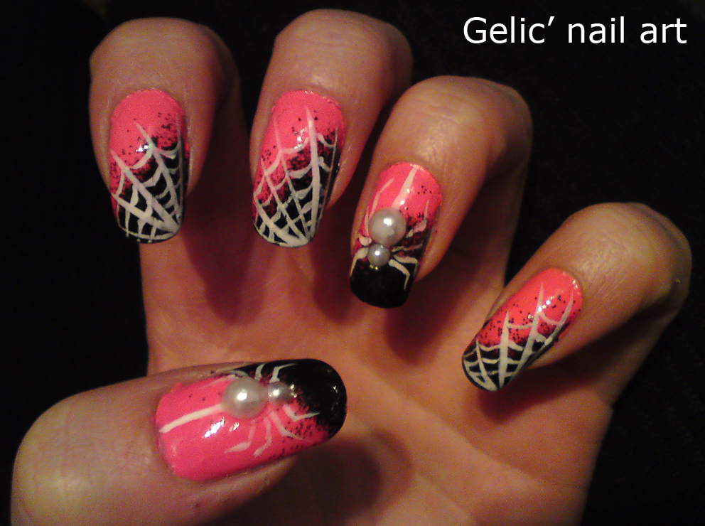 gelic 39 nail art halloween white spider nail art in pink and black. Black Bedroom Furniture Sets. Home Design Ideas