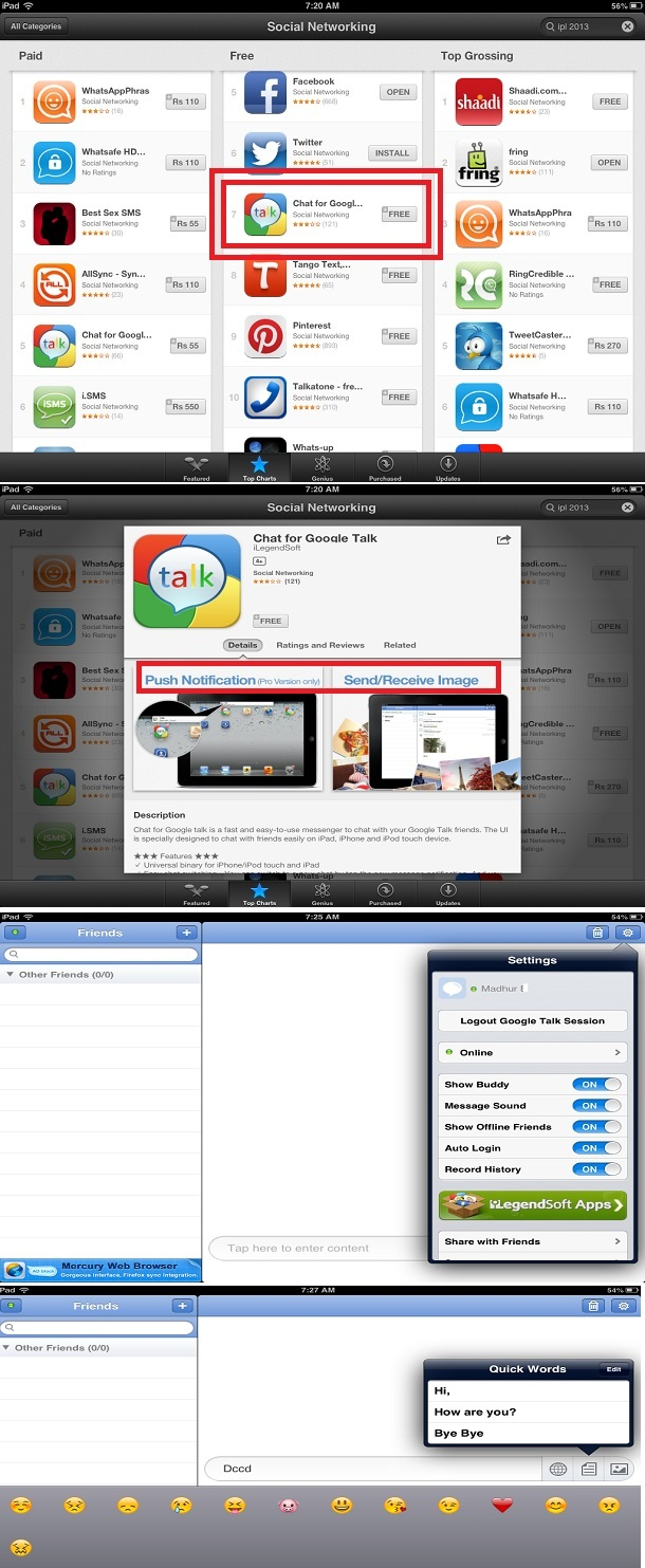 Chat for google talk on ipad, iphone or ipod touch: messgaing app.