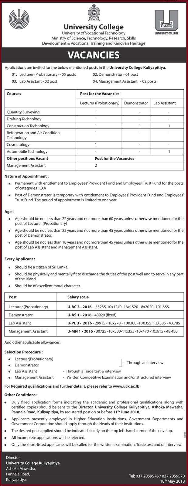 University College Vacancies