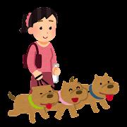 犬の多頭飼いのイラスト(女性)