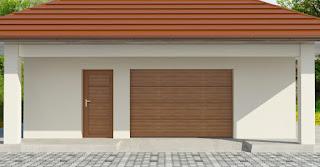 Drzwi garażowe boczne z wypełnieniem z paneli identycznych jak w bramie