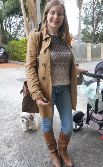 Trench coat, skinny jeans, boots, ombre knit LV speedy stroller | Away From Blue