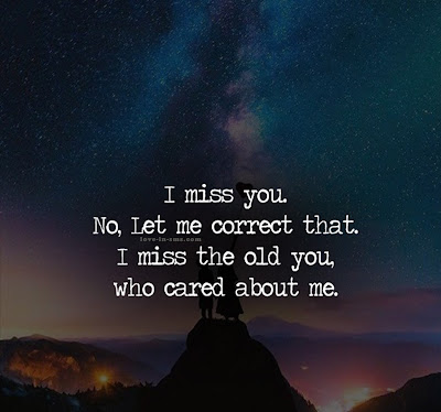 I Miss you. No, Let me correct that, I miss the old you, Who cared about me.