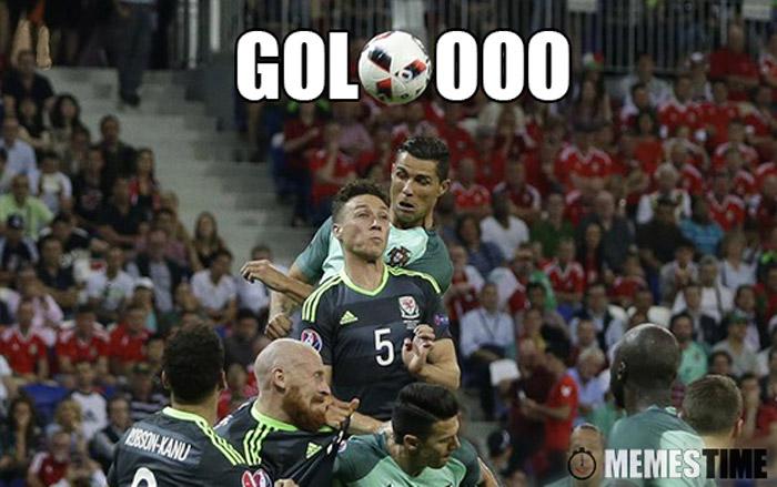 Meme O Golo do Cristiano Ronaldo no Portugal Gales – Golooo, Cristiano Ronaldo o Pai do Brexit