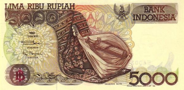 5 ribu rupiah 1992 depan