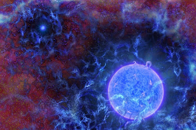 Rendering of Blue Stars with cosmic Microwave