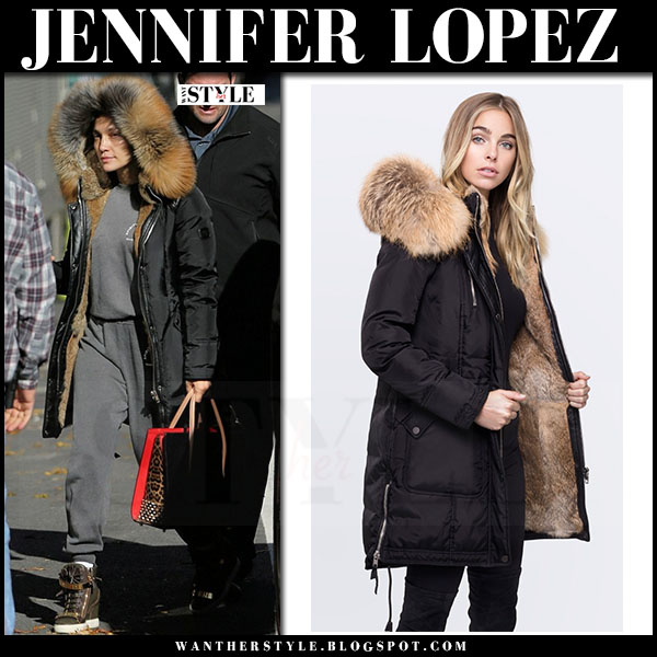 Jennifer Lopez in black fur lined hooded parka nicole benisti chelsea what she wore winter style