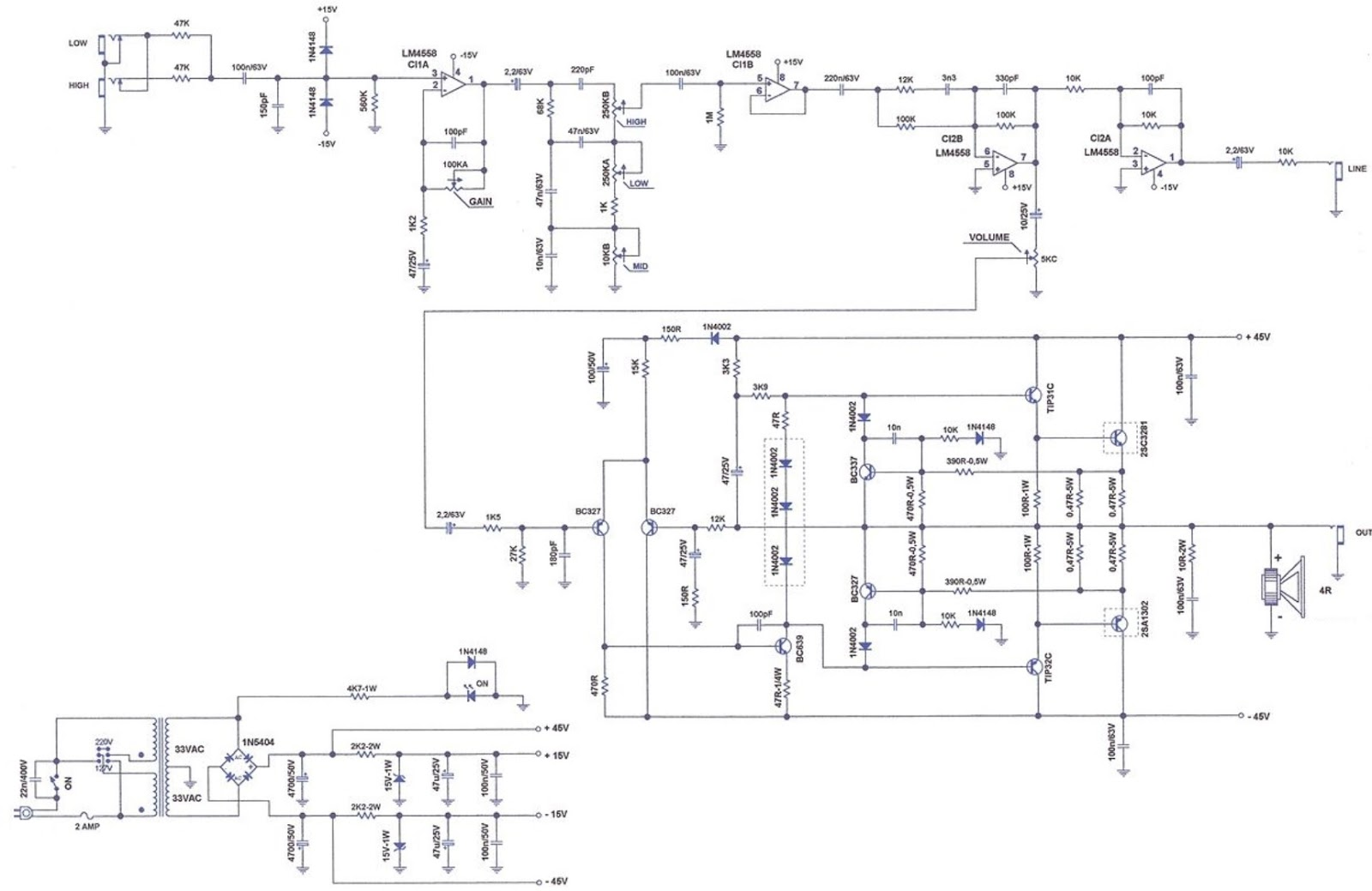 Schematic Diagrams  Staner Bs 150 Bass Amplifier