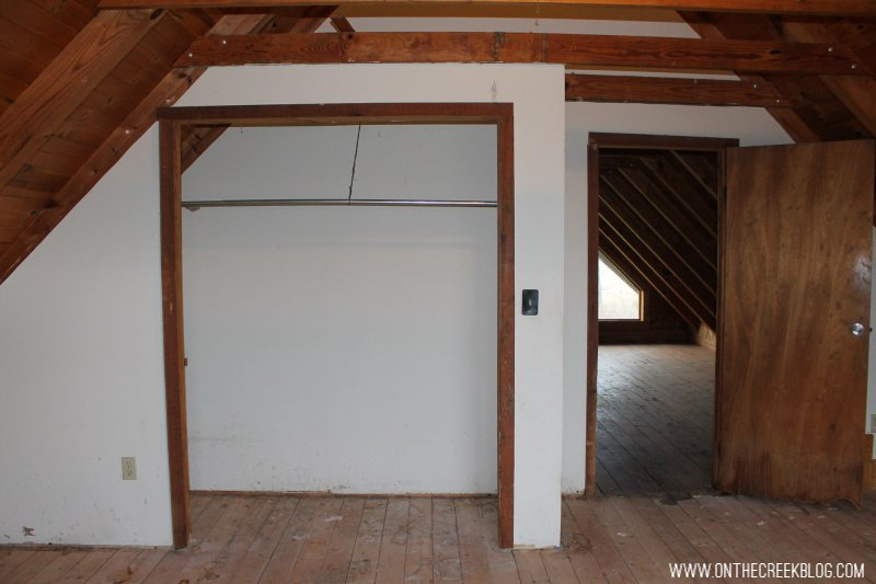 'Before' photo of our upstairs bedroom when we first purchased our fixer upper!