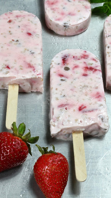 STRAWBERRY GRAPE-NUTS YOGURT BREAKFAST POPSICLES