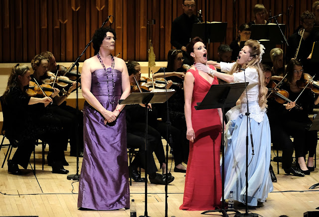 Hilary Summers, Allison Cook, Barbara Hannigan, Britten Sinfonia - Gerald Barry: Alice's Adventures Under Ground - photo Mark Allan/Barbican