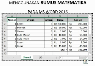 Kombinasi Ms Word dengan Ms Excel Worksheet