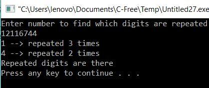 Program to check whether there are repeated digits in given Number