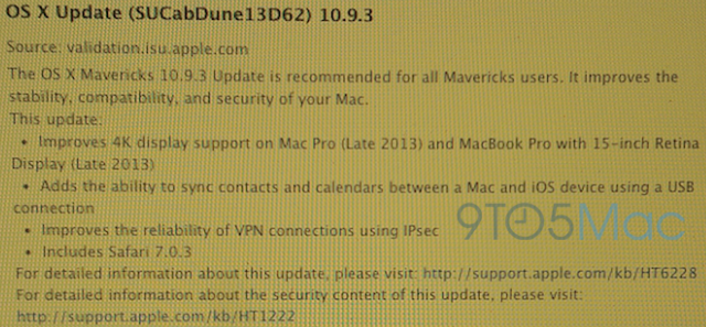 Mac OS X Mavericks 10.9.3 Build 13D62