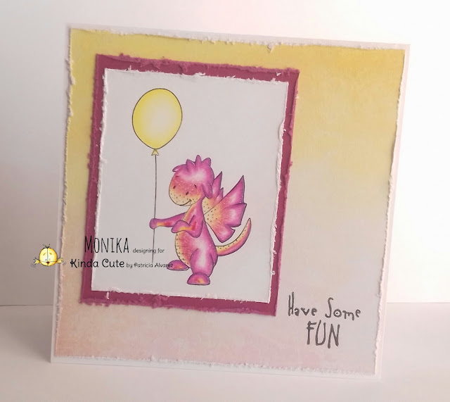 card using birthday dragon with balloon digital samp
