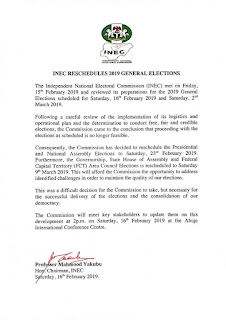 INEC postpones election
