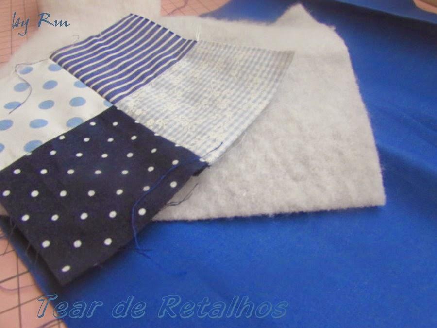 Estrutura de um trabalho de patchwork: parte superior (topo), miolo (manta) e parte inferior (forro), que serão presos pelo quilt.