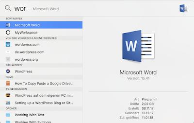 Hier wird in der Spotlight-Suche Word gesucht und die Alternativen darunter aufgelistet. MyWorkspace dann kommen von Siri vorgeschlagene Seiten wie wordpress etc.